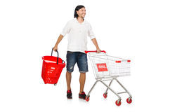 Man shopping with supermarket basket cart isolated Stock Photography
