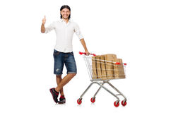 Man shopping with supermarket basket cart isolated Stock Images
