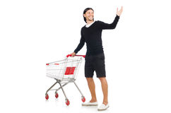 Man shopping with supermarket basket cart isolated. On white Stock Images