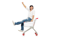 Man shopping with supermarket basket cart isolated Royalty Free Stock Image