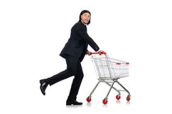 Man shopping with supermarket basket cart isolated Stock Image