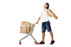 Man shopping with supermarket basket cart isolated Royalty Free Stock Photography