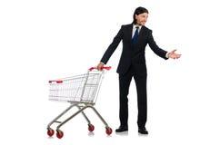 Man shopping with supermarket basket cart isolated Stock Image