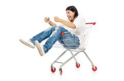 Man shopping with supermarket basket cart isolated. On white Stock Photography