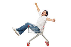 Man shopping with supermarket basket cart isolated Royalty Free Stock Images