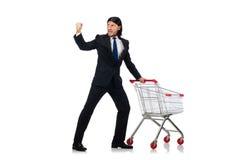 Man shopping with supermarket basket cart isolated Stock Photo