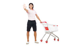 Man shopping with supermarket basket cart Stock Photo