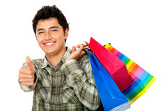 Man shopping - thumbs up Royalty Free Stock Photos