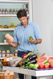 Man Shopping Vegetables In Supermarket Stock Images