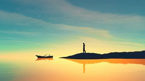 Man on the shore and a boat. On the lake at sunset. This is a 3d render illustration Royalty Free Stock Photos