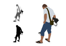 Man with shorts and slippers using metal detector Stock Images
