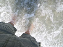 Man in shorts staying in the shallow water Stock Photos