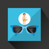 Man shorts sunglasses towel beach vacations Royalty Free Stock Images