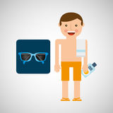 Man shorts sunglasses towel beach vacations Stock Photography