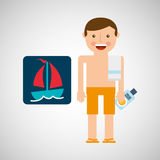 Man shorts towel beach vacations boat Royalty Free Stock Image