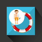 Man shorts towel beach vacations lifebuoy Royalty Free Stock Photography
