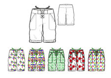 Man shorts with various motif print design template Royalty Free Stock Image
