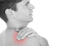 Man With A Shoulder Ache. Isolated Over White Background royalty free stock image