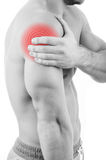 Man with shoulder pain. Over white background stock images