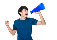 Man shout with loud speaker. On white background Stock Photos