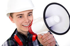 Man shout in a megaphone Stock Image