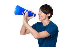 Man shout with megaphone Royalty Free Stock Photo