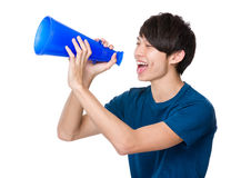 Man shout with megaphone. Isolated on white background Royalty Free Stock Photo