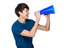 Man shout with megaphone Royalty Free Stock Images