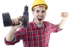 Successful job man. Man shouting euphoric with the drill in hand, successful job royalty free stock image