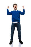 Man shouting with hands raised up Stock Image
