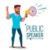 Man Shouting Through Megaphone Vector. Public Protest. Public Speaker. Social Activist. Demonstration Concept. Isolated. Man Shouting Through Loud Speaker Vector Royalty Free Stock Photography