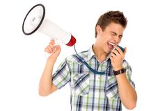 Man Shouting Through Megaphone Stock Images