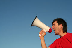 Man Shouting Through Megaphone Royalty Free Stock Photography