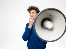 Man shouting through megaphone Stock Photos