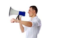 Man shouting through megaphone Stock Photography