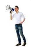 Man shouting through megaphone Royalty Free Stock Photos
