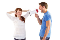 Man shouting through a megaphone Stock Images