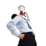 Man shouting megaphone Royalty Free Stock Photo