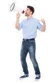 Man shouting through megaphone Royalty Free Stock Photography