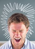 Man shouting in rage and frustration with circle doodle in room. Digital composite of Man shouting in rage and frustration with circle doodle in room Stock Photography
