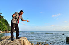 Man shouting and roaring. Near the beach to released his tension Royalty Free Stock Photo