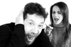 Man shouting scared about wife yelling at him Royalty Free Stock Images