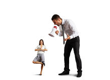Man shouting at small calm woman Stock Photos