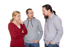 Man is shouting to a couple Stock Images