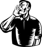 Man shouting using hand Royalty Free Stock Image
