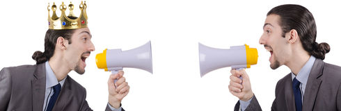 The man shouting and yelling with loudspeaker Royalty Free Stock Photo
