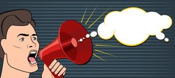 Man shouts through a megaphone. Business News. Vector illustrati Stock Images