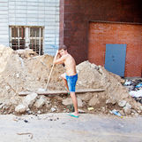 Man with shovel royalty free stock photos
