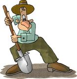 Man with a shovel. This illustration that I created depicts a man using a shovel Royalty Free Stock Photo