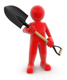 Man and Shovel (clipping path included) Stock Photography